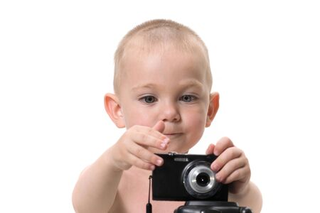 Child using a camera on white background 스톡 콘텐츠