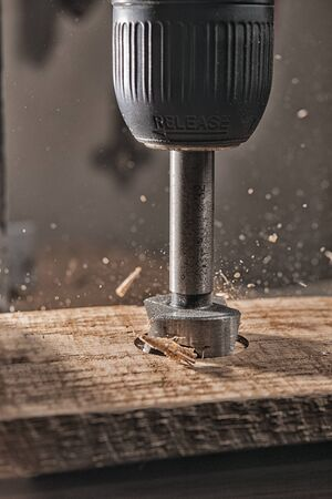 drilling of oak wood with a forstner drill