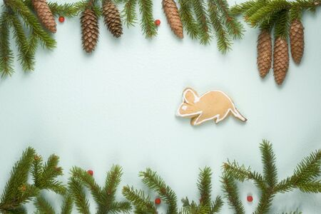 Composition on a light background with place for text. For the holiday of Christmas and New Year. Fir branches with cones and a gingerbread mouse are a symbol of the coming year. view from above Still life