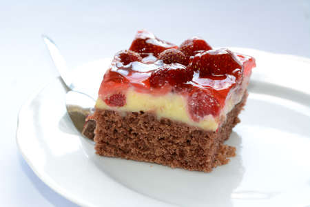 fresh tasty strawberry cake on a plate Stock Photo
