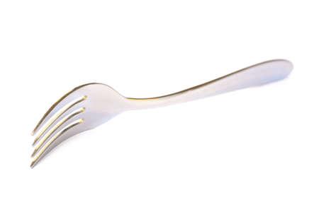 shiny metal background: Shiny metal fork on a white background Stock Photo