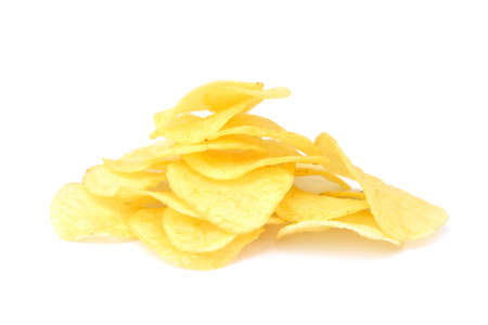 spicey: Fried salted potato chips isolated on white background