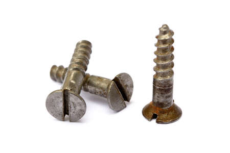 Old Used wood screws isolated on white background