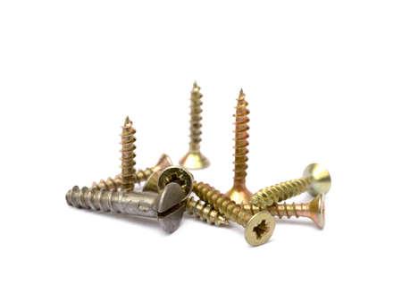 woodscrew: Wood screws isolated on white background Stock Photo