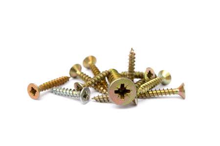 Wood screws isolated on white background Stock Photo
