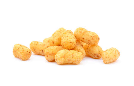 puffs: Peanut, corn puffs isolated with white background Stock Photo