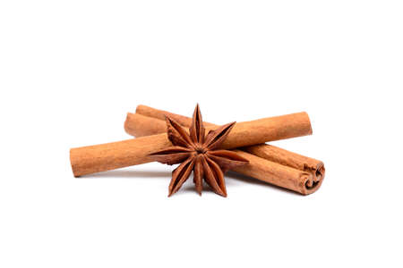 spicey: Fragrant anise and cinnamon isolated on white background Stock Photo