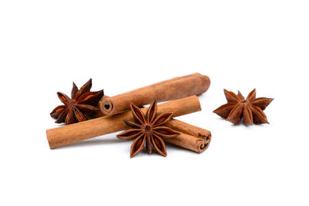 Fragrant anise and cinnamon isolated on white background Stock Photo