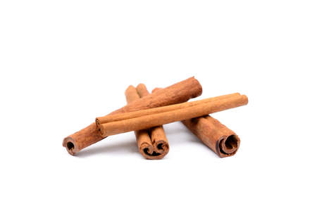 spicey: Fragrant cinnamon isolated on white background Stock Photo