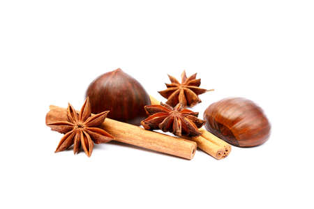 Fragrant anise, chestnuts and cinnamon isolated on white background