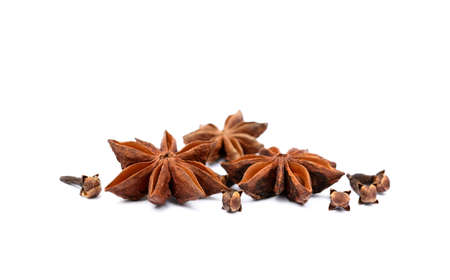 Aromatic star anise and cloves isolated on white background