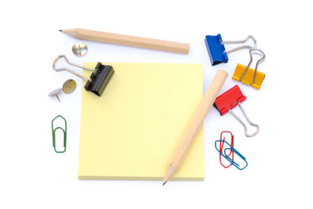 Office supplies isolated on white background, pencil, paper, staples, pencil sharpeners