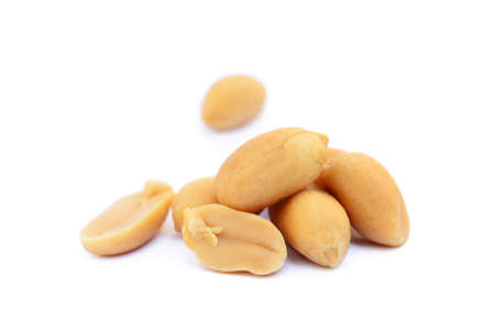 Roasted peanuts snack isolated on a white background Banco de Imagens - 79450916