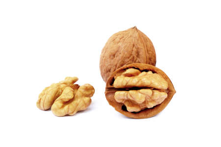 Walnuts in shell isolated on white background Stok Fotoğraf