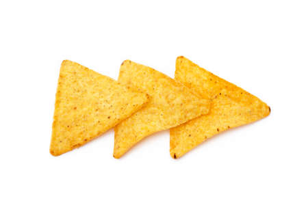 Corn chips, triangle, nachos isolated on white background