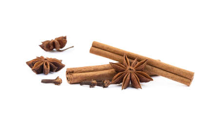Star anise, cloves and cinnamon isolated on white background Stock Photo