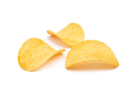 Salted potato chips isolated on white background