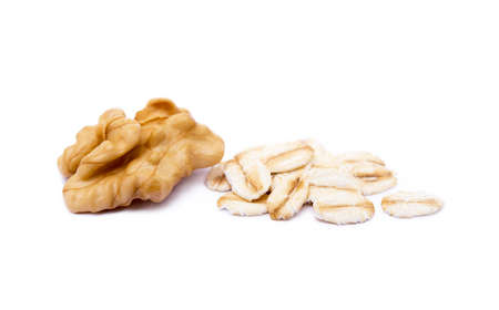 Mix nuts, walnut and oatmeal isolated on white background