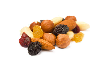 Mixed fresh nuts and raisins isolated on white background