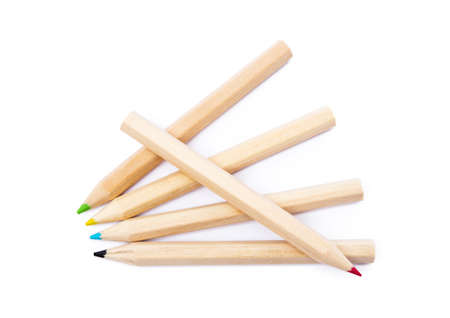 Wooden colored pencils isolated on a white background Reklamní fotografie