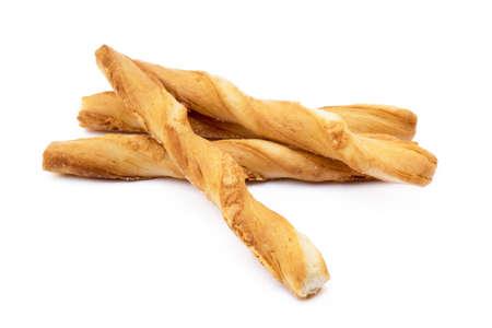 Spiral bread sticks with cheese on a white background Archivio Fotografico