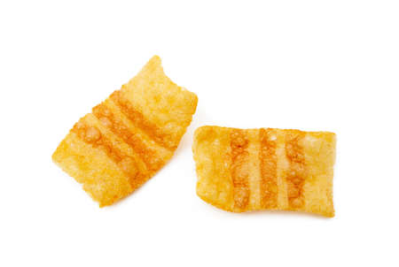 Fried wheat-potato snack isolated on white background Imagens