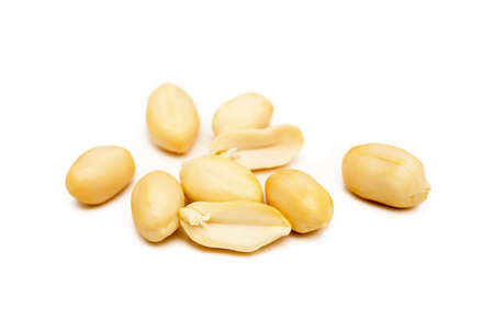 Fresh peanuts snack isolated on white background