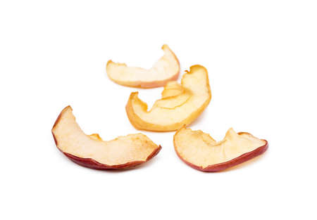 Dried sliced apples isolated on white background