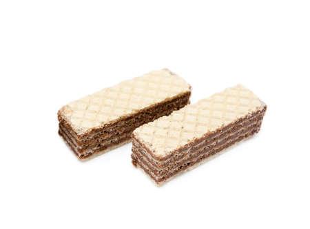 Crispy wafers isolated on white background
