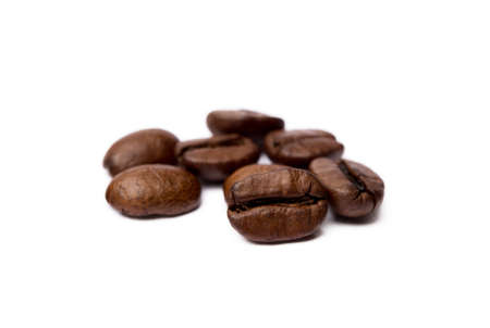 Roasted coffee beans isolated on white background