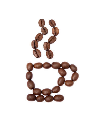 Roasted coffee beans isolated on white background Banco de Imagens - 155913543