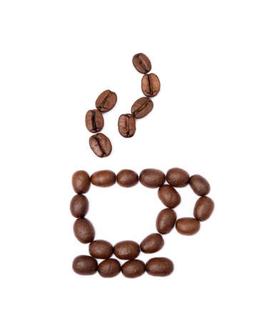 Roasted coffee beans isolated on white background Banco de Imagens - 155913544