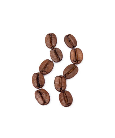 Roasted coffee beans isolated on white background Banco de Imagens - 155913542