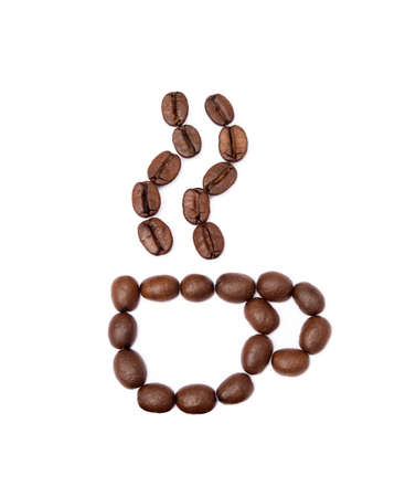 Roasted coffee beans isolated on white background Banco de Imagens - 155909179