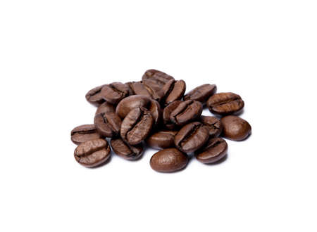 Roasted coffee beans isolated on white background Banco de Imagens - 156212224