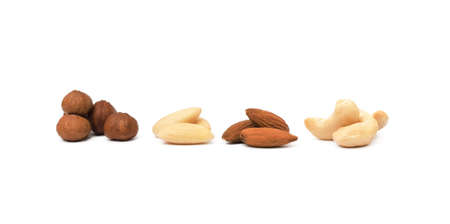 Mixed nuts isolated on white background Banco de Imagens - 157140451