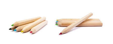 Wooden colorful ordinary pencils isolated on a white background Banco de Imagens