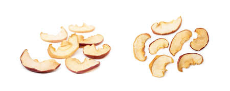 Dried sliced apples, fruit isolated on white background