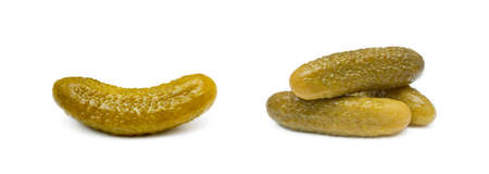Pickled sour cucumber isolated on white background Banco de Imagens