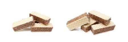 Crispy wafers with creamy hazelnut filling isolated on white background Banco de Imagens
