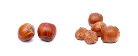 Group of fresh hazelnuts isolated on white background