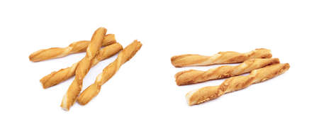 Spiral bread sticks with cheese on a white background Banco de Imagens