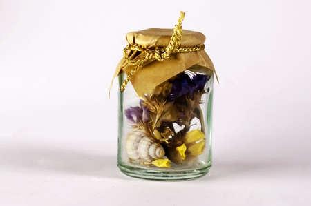 inwardly: jar with flowers inwardly Stock Photo