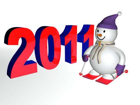 winter photos: smiling 3d snowman on skis
