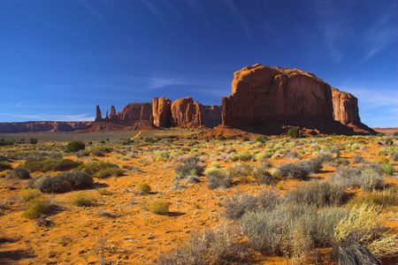Semi-desert and the red rock of the Navajo National Monument with on the background of the famous table mountains 写真素材