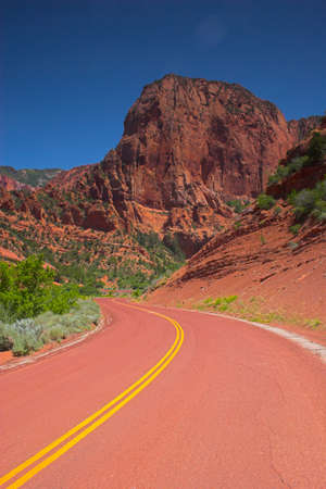 Red road to the mountains of the Zion National park photo