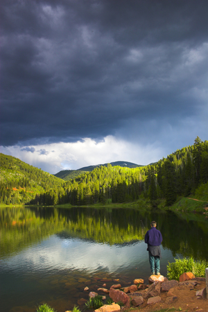 Evening landscapes of Rocky Mountains in Sylvan Lake State Park