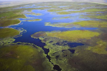 tundra: Aerial photos of arctic tundra wetlands for backgrounds and textures  Stock Photo