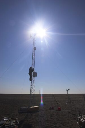 lanscape: Scientific and environmental weather stations of the National Arctic Research Observatory Stock Photo