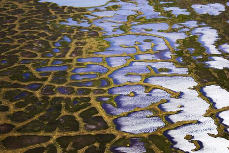 Aerial photos of arctic tundra wetlands for backgrounds and textures  photo